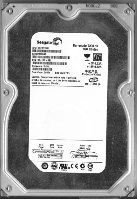SEAGATE BARRACUDA ST3320820AS 320GB SATA HARD DRIVE P/N: 9BJ13G-622  SITE: WU