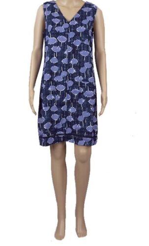 Navy Blue Linen Blend Dress Tulip Design Sleeveless