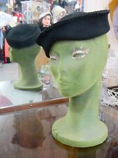 CHIC with ANY HAT-PIN! STYLISH! vintage 40s TILT day/eve black dress hat vlv rab