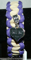 Handmade Desert Tan Purple Paracord Bracelet Curved Buckle Friend Charm