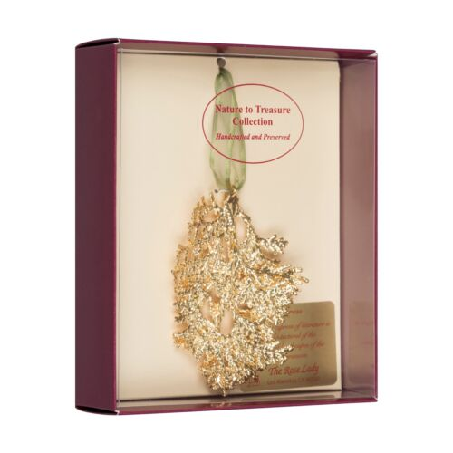 Cypress Real Leaf Ornaments Dipped in 24k Gold Comes Gift Boxed