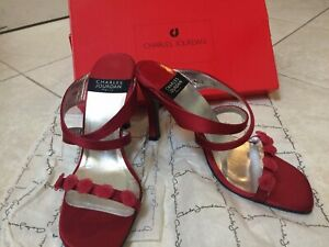 abaf134223f56 Details about *WOW* New Vintage Charles Jourdan Red Satin Heels/Sandals -  Size 7.5 - FREE SHIP