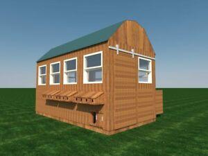 Poultry Chicken Coop Plans DIY Backyard Barn Hen House ...