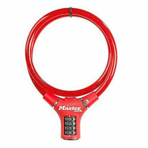Master Lock 90cm x 12mm 4 Digit Combination Cable Bike Bicycle Lock Red