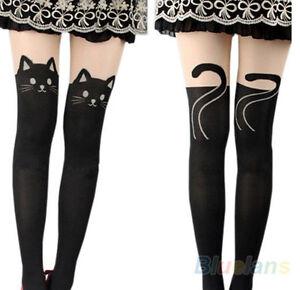 venduto in tutto il mondo alta moda grande sconto Dettagli su Calze collant finta parigina fantasia gatto Sexy ed elegante  moda 2016