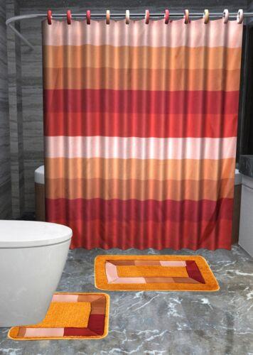 13PC SYLVIA RUST LINES Printed Design Bathroom Fabric Shower Curtain Set Hook