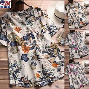 Women-039-s-Cotton-Linen-Floral-V-Neck-Tops-Casual-Loose-Blouse-Short-Sleeve-T-shirt