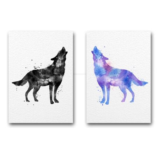 Watercolor Wolf Canvas Poster Animal Nordic Minimalist Art Print Wall Decor