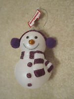 Snowman Ornament Purple With Tags Plastic Christmas Holiday Winter