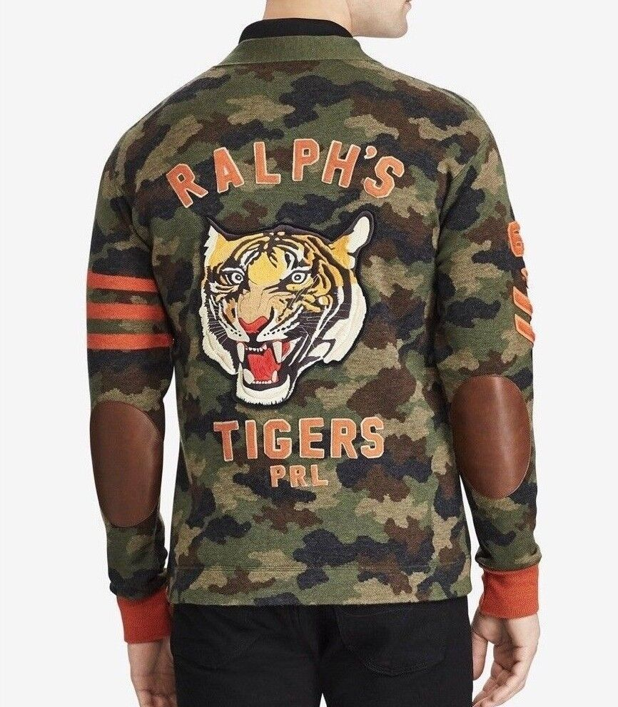 Polo Ralph Lauren Men Military Army Tiger Camo Knit Sweater Cardigan P Letterman