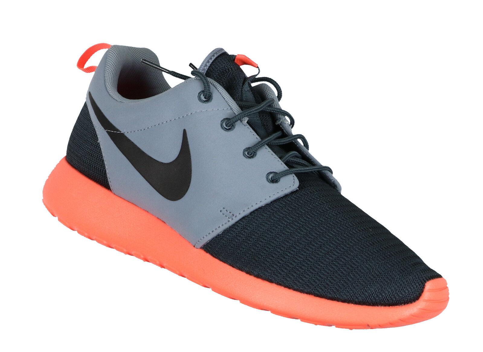 Nike Rosherun Sz 10 Schwarz Dunkel Magnet Grau Leuchtend Mango Roshe Premium Run