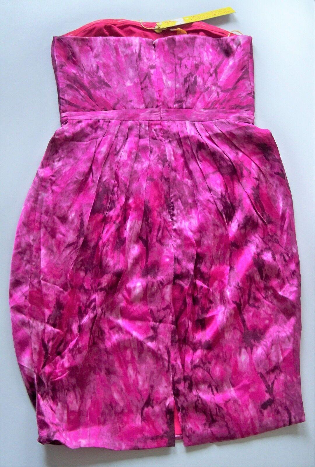 NWT-CATHERINE MALANDRINO PINK FUCHSIA MARBLE SILK PLEAT STRAPLESS STRAPLESS STRAPLESS DRESS  MSP 615 e2240f