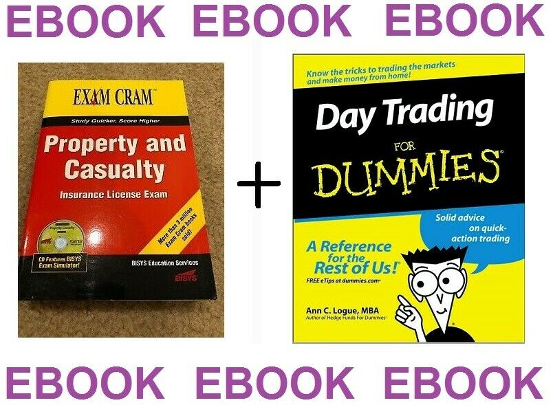 Insurance license Exam+ Day Trading For Dummies Stocks Idiots Guide books 1