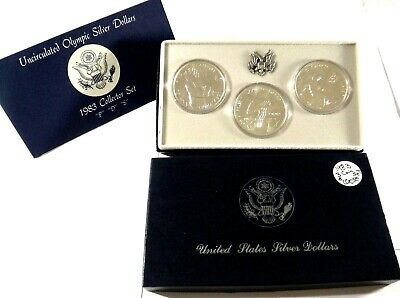 1983 P D S Uncirculated Olympic Silver Dollar Coins in Original Mint Packaging