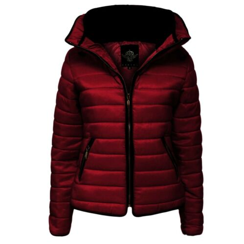 Womens Ladies Quilted Padded Puffer Bubble Fur Collar Warm Jacket Coat 8-26-28