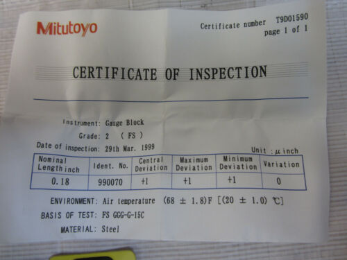 MITUTOYO  611118-231 .18 INCH FS 2//D STEEL GAUGE BLOCK