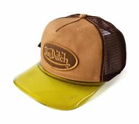 Von Dutch Brown / Yellow Men's Cap Hat Headgear W / Adjustable Sizing