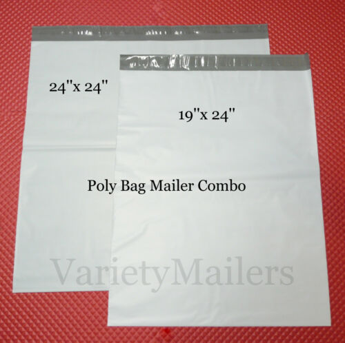 """8 Extra Large Poly Envelope Combo  24/""""x 24/"""" /& 19/""""x 24/""""  Self-Sealing Mailers"""