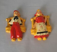 Vintage Dutch Boy and Girl Chalk Figurines Approx 5 inches Nice Condition