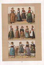 VINTAGE FASHION COSTUME PRINT ~ SWITZERLAND 1880s REGIONAL ZURICH BASEL