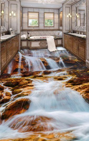 3D Fiume Cascata 360 Pavimento Foto Wallpaper Murales Muro Stampa Decalcomania