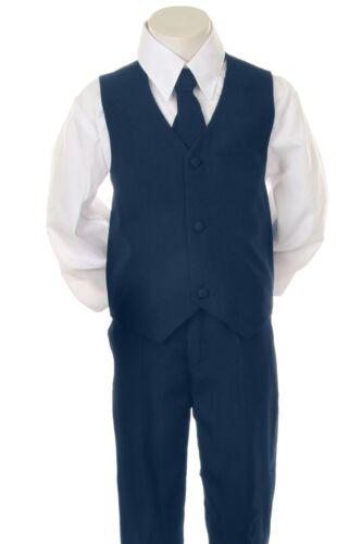 Baby Toddler Kid Teen Boy Wedding Formal Party Navy Blue 5pc Tuxedo Suit sz S-20