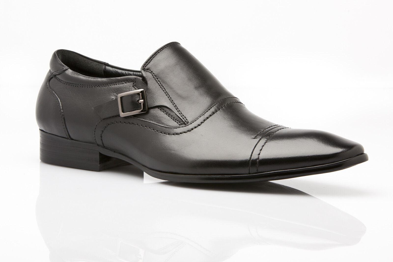 NEW MENS ZASEL DRESS BLACK LEATHER SLIP ON BUCKLE DRESS FORMAL CASUAL WORK SHOES