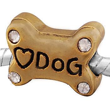 """14k oro bead huesos con /""""Dog/"""" grabado y vidrio cristal piedras regalo"""