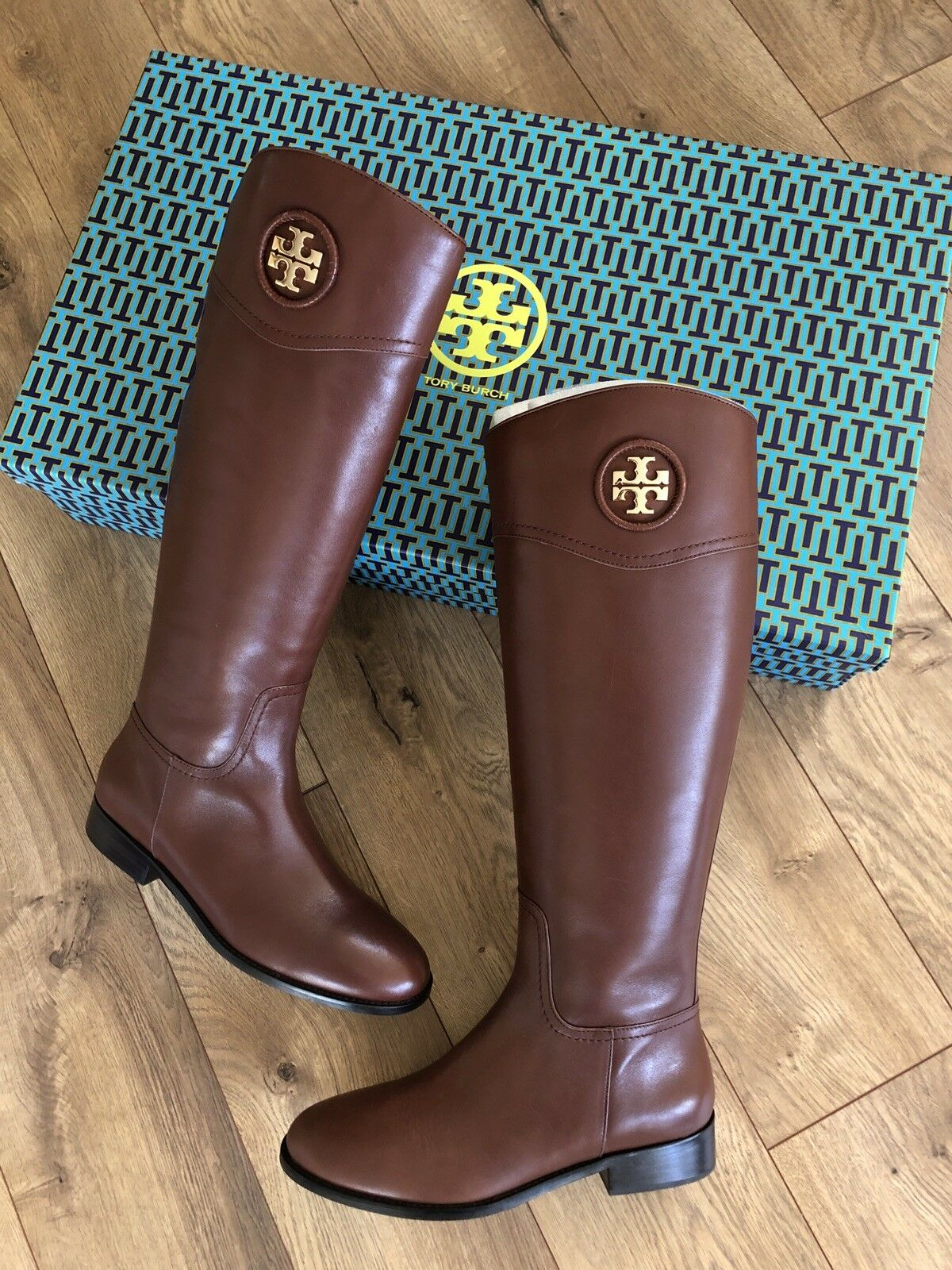 NIB Tory Burch Ashlynn Venus Leather Riding Boot High Boots Almond Brown 9.5M