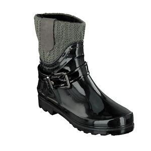 Gosch-Shoes-Sylt-Zapatos-Mujer-Botas-de-Agua-Acolchada-7102-505-92-Negro-Gris