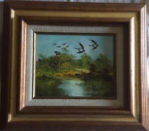 Vintage-Oil-Painting-with-Mallard-Ducks-signed-R-BURTON-Wood-Frame