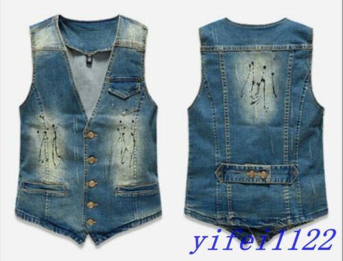 Retro Vintage Mens Denim Washed Jean Sleeveless V-Neck Vest Waistcoat Jacket Hot