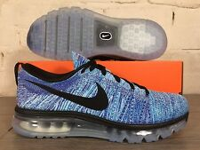 New Men's Nike Flyknit Air Max UK Size 10.5 // Blue Black Trainers 90 95 TN