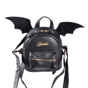 Image Is Loading Gothic Mini Black Bat Wings Pu Leather Backpack