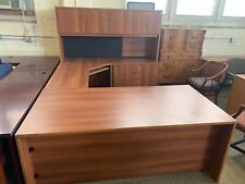6x9 U Shape Desk With 4dr Hutch In Cherry Laminate With 2dr Lateral File Built In