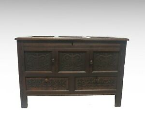 Carved-oak-mule-chest-coffer-style-cupboard-2427L