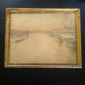 Rare-grand-dessin-la-Seine-Paris-Gaston-PRUNIER-peintre-post-impressioniste