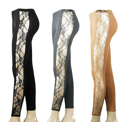 IUILE Sexy Women's Side Big Rose Lace Full Length Leggings