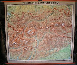 Schulwandkarte-Innsbruck-Ortler-Suedtirol-Trient-Garda-Alpen-202x185-vintage-1960