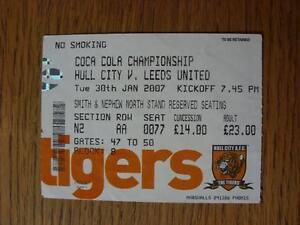 30012007 Ticket Hull City v Leeds United  Creased amp Numbers Noted On Back - Birmingham, United Kingdom - 30012007 Ticket Hull City v Leeds United  Creased amp Numbers Noted On Back - Birmingham, United Kingdom