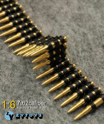 "50PC 1:6 ZY Toys 7.62 Caliber metal machine bullet chain For 12/"" Action Figure"