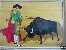 VINTAGE 60S BULL FIGHTE OIL PAINTING SIGNED