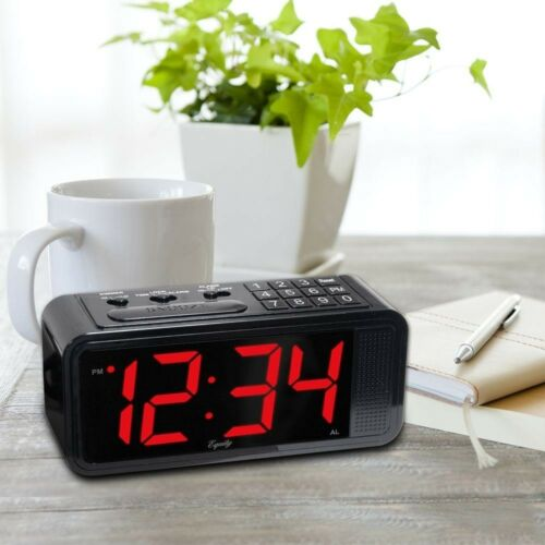 Equity by La Crosse Red LED Quick Set Electric Alarm Table Clock HI LO Dimmer