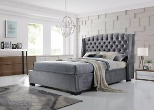 Brando Bed Frame 5ft King Size In Velvet Grey Stunning Winged