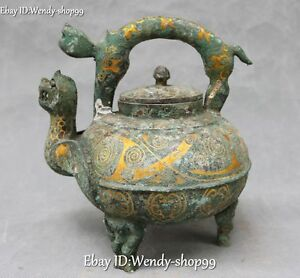 Chinese Antique Palace Collection Inlaid Gem Elephant Flagon Home Decoration Decorative Arts Antiques
