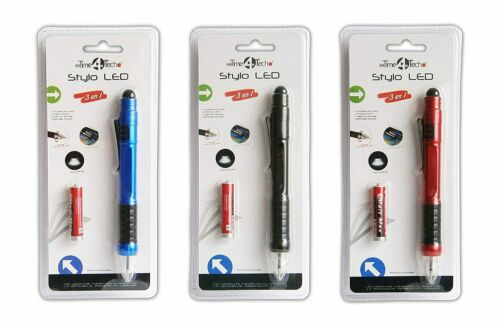 3in1 TOUCHPEN mit LED Licht 14,5cm Kugelschreiber Touchscreenstift 3-Farben 57