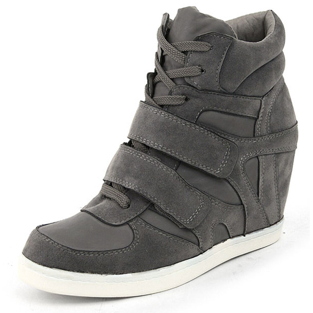 Epicsnob Damens Schuhes High Top Wedge Heel Trainers Suede Fashion Sneakers
