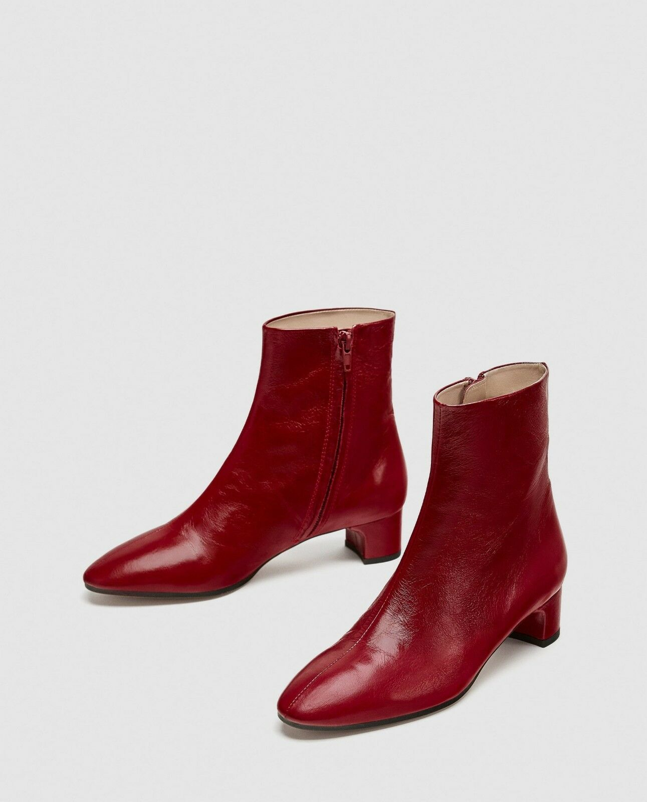 NEW Zara 100% Leder Ankle Stiefel, NEW ROT Stiefel, Block US, Heel // Größe 6 US, Block 36 EU 339dca