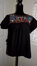 Mexican women black embroidery multi color flowers blouse bohemian style small