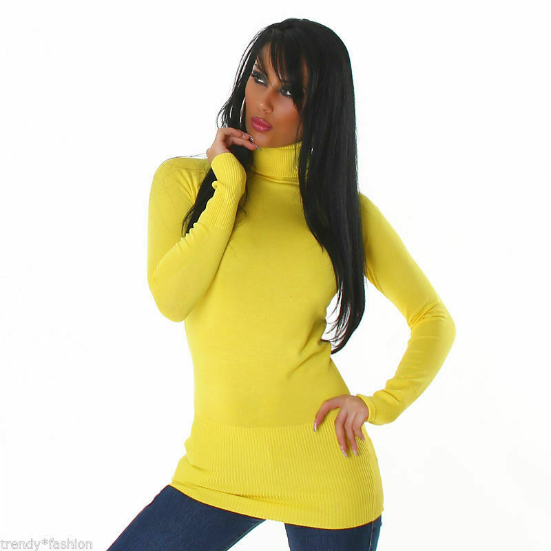 ???? ???? Fein-tricot Pull Taille Unique Avec Col Roule Jaune